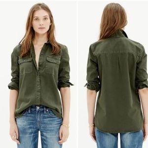 Madewell | Green Tomboy Workshirt button up cotton